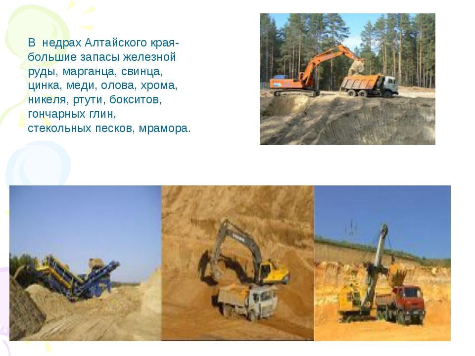 В недрах Алтайского края- большие запасы железной руды, марганца, свинца, цин...