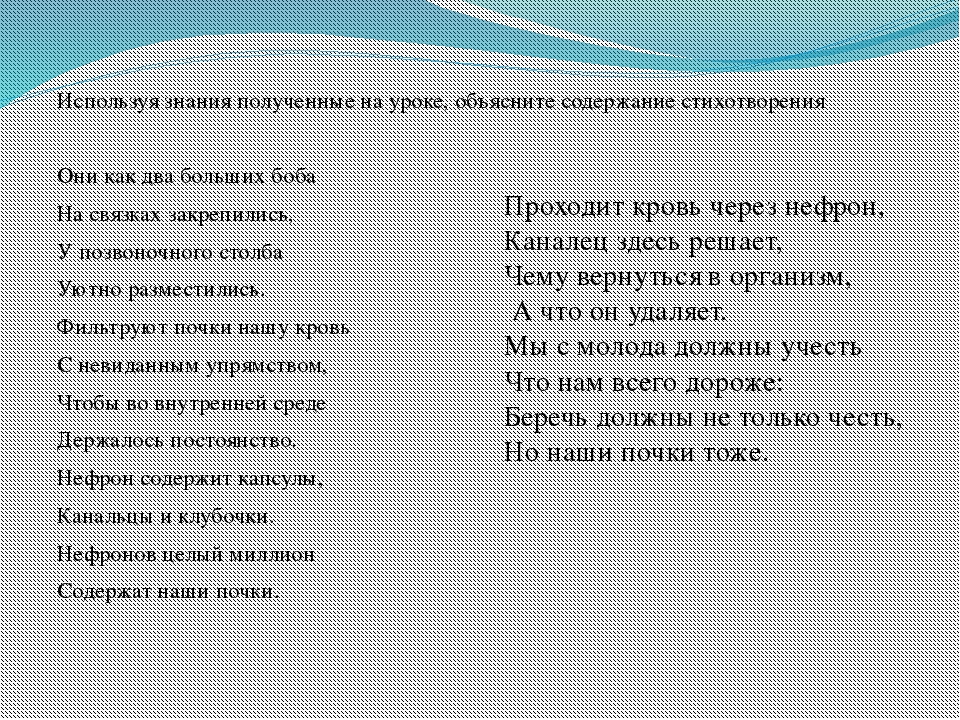 Используя знания полученные на уроке, объясните содержание стихотворения Они...