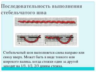 Последовательность выполнения стебельчатого шва Стебельчатый шов выполняется