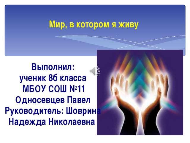 Мир, в котором я живу Выполнил: ученик 8б класса МБОУ СОШ №11 Односевцев Пав...