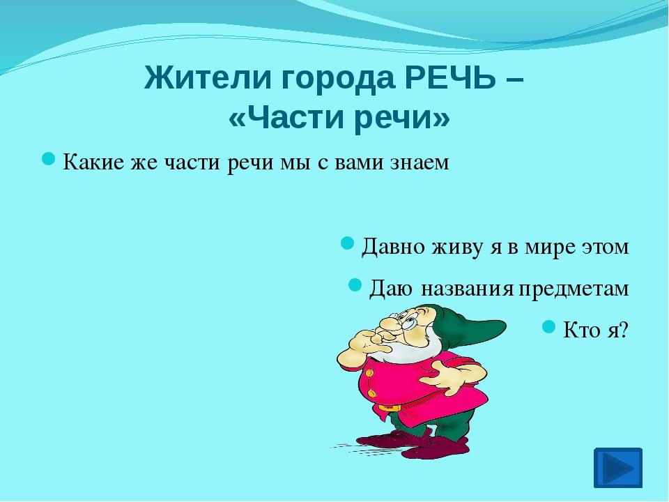 Жители города РЕЧЬ – «Части речи» Какие же части речи мы с вами знаем Давно ж...