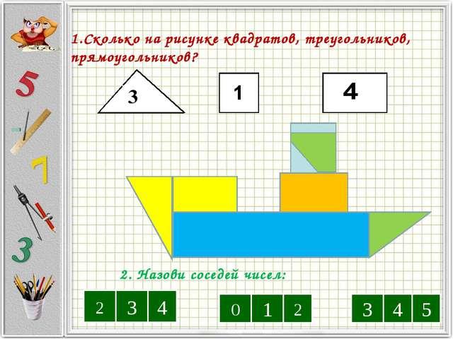 1.Сколько на рисунке квадратов, треугольников, прямоугольников? 3333 3 2. Наз...