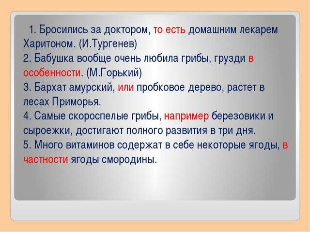 1. Бросились за доктором, то есть домашним лекарем Харитоном. (И.Тургенев) 2...