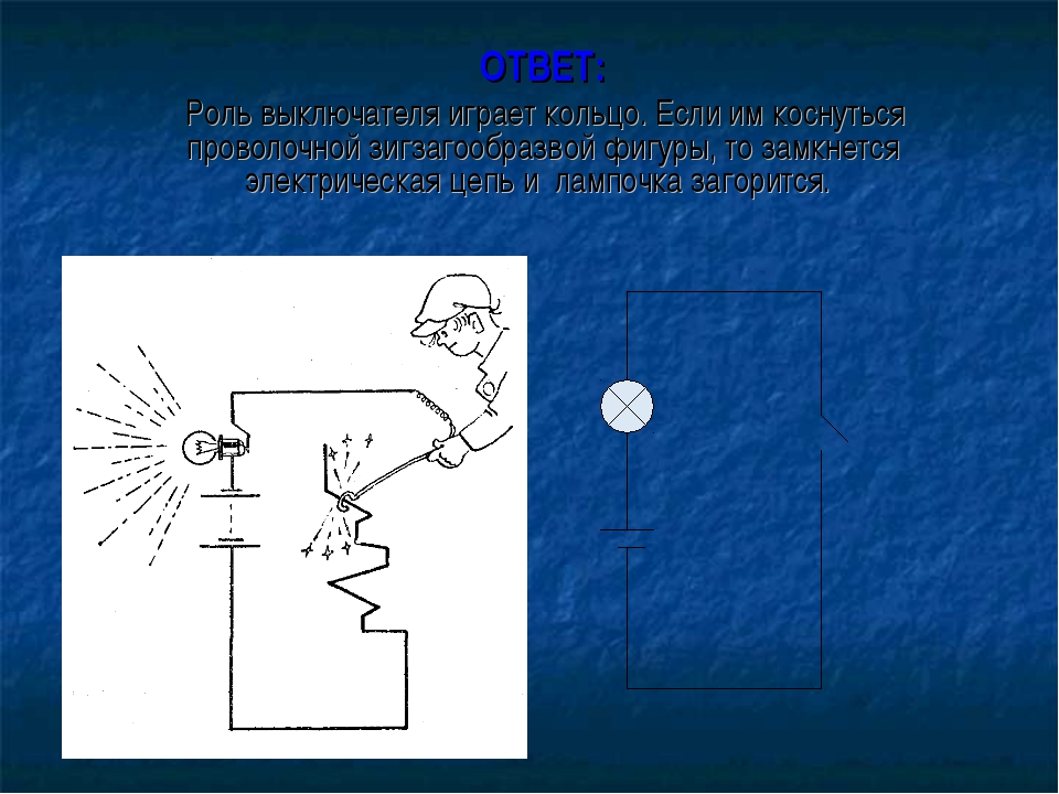 ОТВЕТ: Роль выключателя играет кольцо. Если им коснуться проволочной зигзагоо...