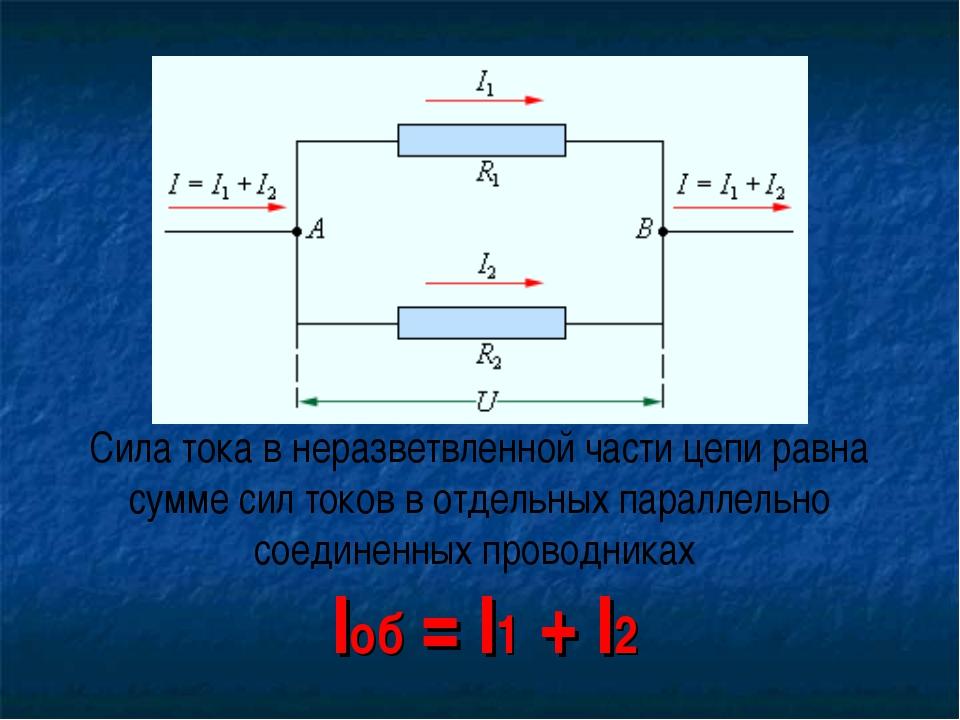 Сила тока в неразветвленной части цепи равна сумме сил токов в отдельных пара...