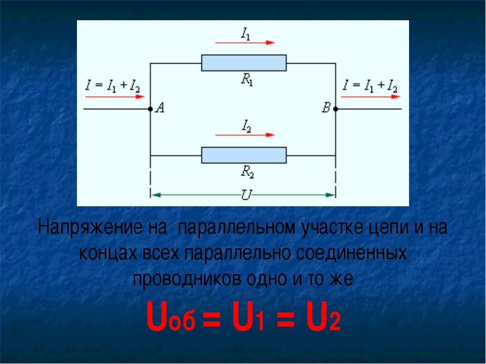 Напряжение на параллельном участке цепи и на концах всех параллельно соединен...