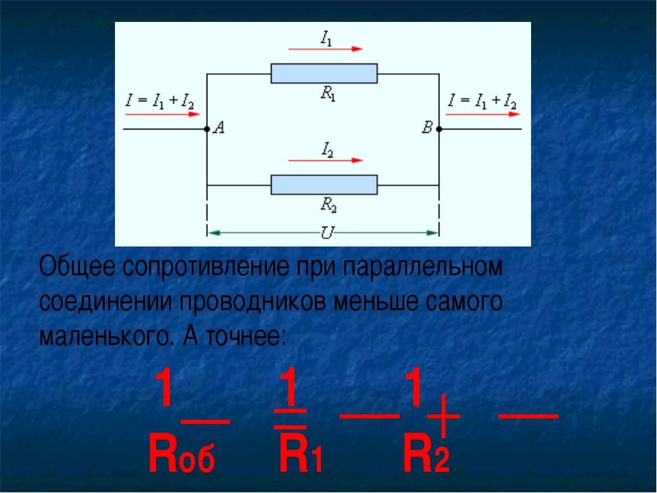 Общее сопротивление при параллельном соединении проводников меньше самого мал...