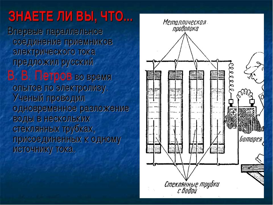 ЗНАЕТЕ ЛИ ВЫ, ЧТО... Впервые параллельное соединение приемников электрическог...
