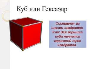 Куб или Гексаэдр Составлен из шести квадратов. Каждая вершина куба является в