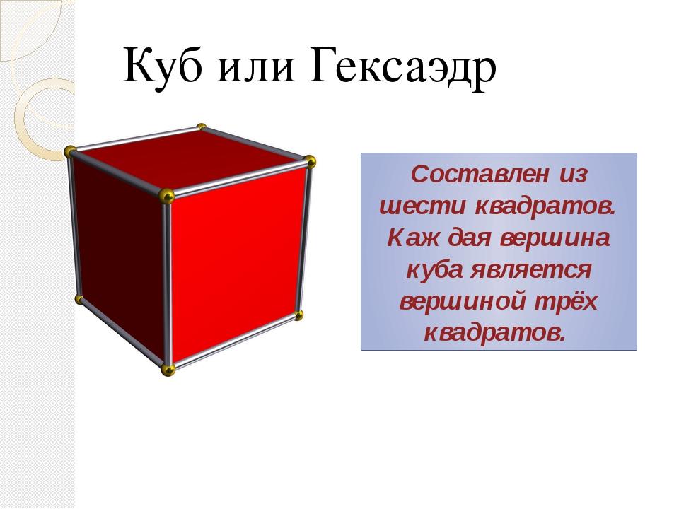 Куб или Гексаэдр Составлен из шести квадратов. Каждая вершина куба является в...