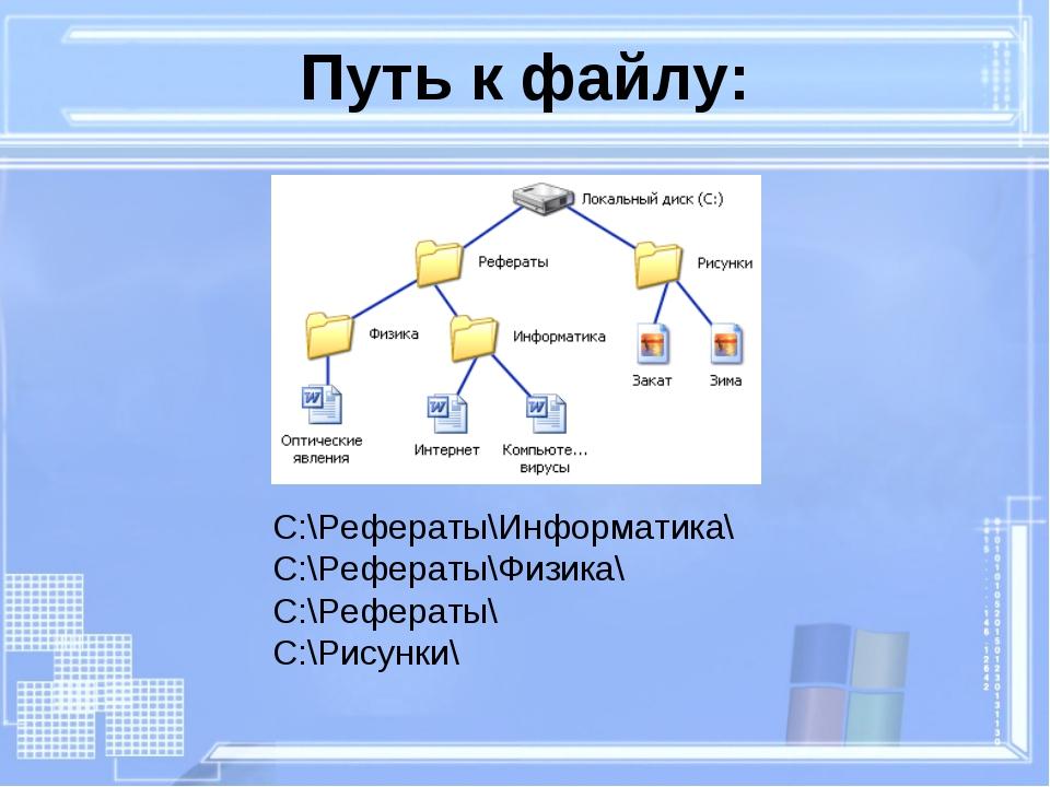 C:\Рефераты\Информатика\ C:\Рефераты\Физика\ C:\Рефераты\ C:\Рисунки\ Путь к...