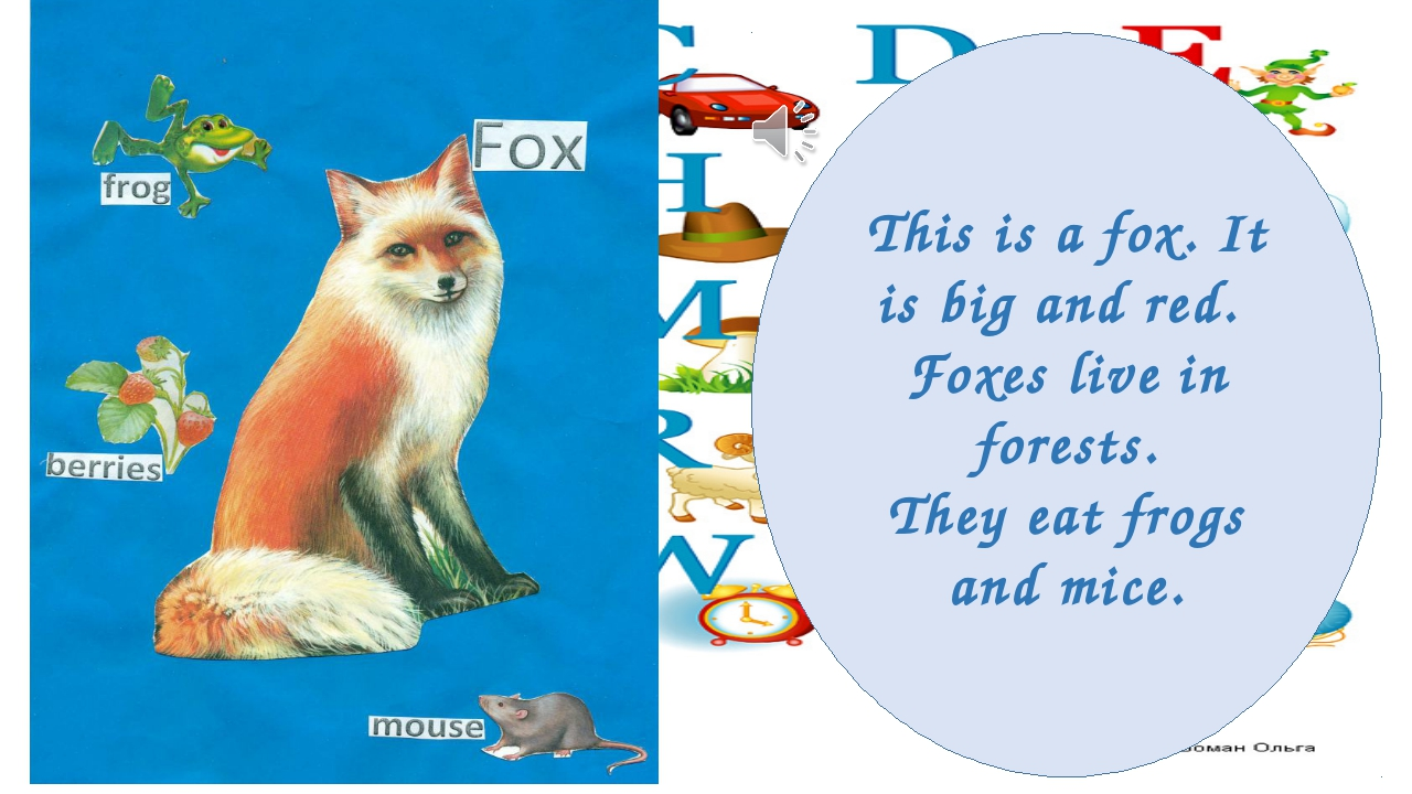 This is a fox. It is big and red. Foxes live in forests. They eat frogs and m...