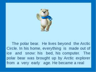 The polar bear. He lives beyond the Arctic Circle. In his home, ever
