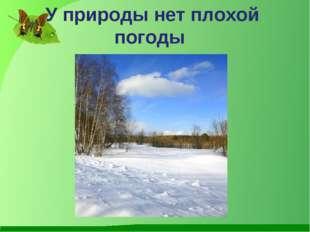 У природы нет плохой погоды