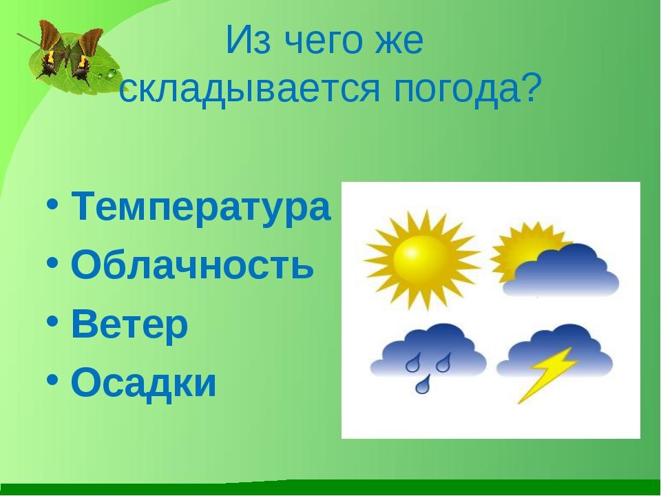 Из чего же складывается погода? Температура Облачность Ветер Осадки