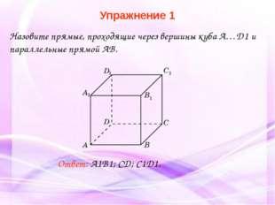 Ответ: A1B1; CD; C1D1. Назовите прямые, проходящие через вершины куба A…D1 и