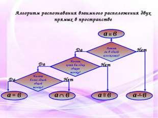 Алгоритм распознавания взаимного расположения двух прямых в пространстве Леж