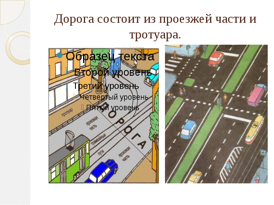 Дорога состоит из проезжей части и тротуара.
