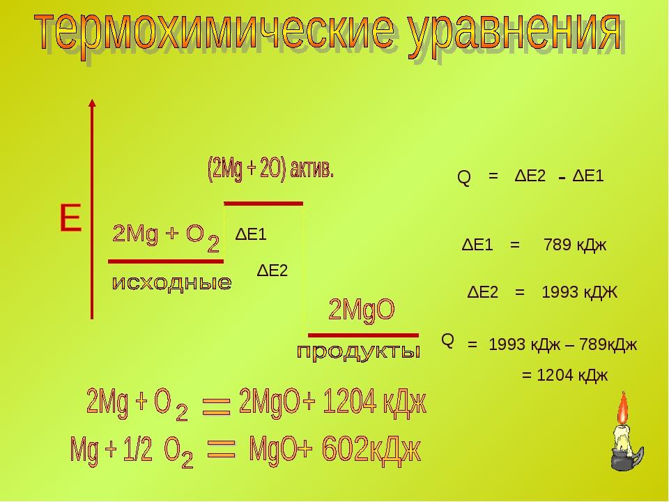 ΔЕ1 ΔЕ1 ΔЕ2 ΔЕ2 Q = - ΔЕ1 ΔЕ2 = = 789 кДж 1993 кДЖ Q = 1993 кДж – 789кДж = 12...