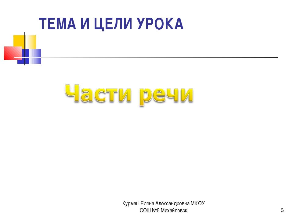ТЕМА И ЦЕЛИ УРОКА * Курмаш Елена Александровна МКОУ СОШ №5 Михайловск Курмаш...