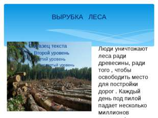 ВЫРУБКА ЛЕСА Люди уничтожают леса ради древесины, ради того , чтобы освободит