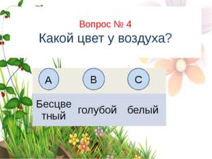 Вопрос № 6 На каком рисунке изображён флаг России? А B C Вопрос № 4 Какой цве