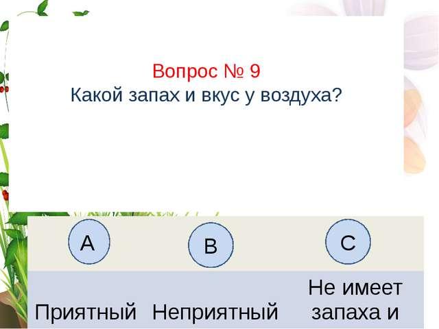Вопрос № 9 Какой запах и вкус у воздуха? А B C Приятный Неприятный Неимеет за...