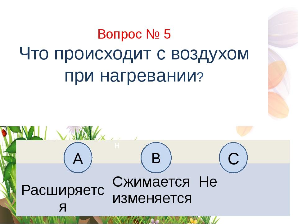 Вопрос № 5 Что происходит с воздухом при нагревании? А B С Н Расширяется Сжим...