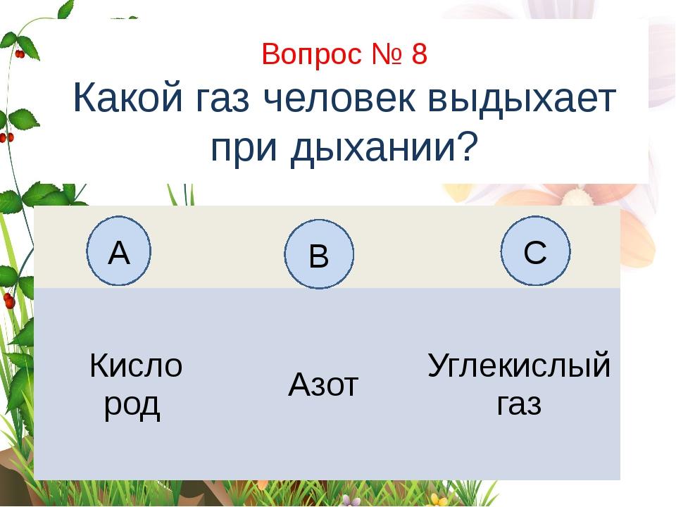 Вопрос № 8 Какой газ человек выдыхает при дыхании? А B C Кисло род Азот Углек...