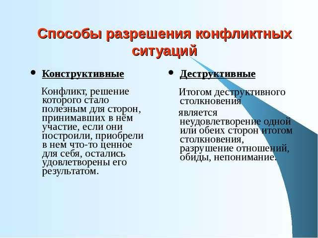 Способы разрешения конфликтных ситуаций Конструктивные Конфликт, решение кото...