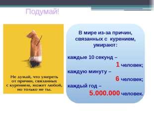В мире из-за причин, связанных с курением, умирают: каждые 10 секунд – 1 чел