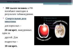 300 тысяч человек в РФ погибают ежегодно в результате табакокурения. Смертел