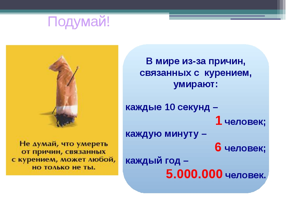 В мире из-за причин, связанных с курением, умирают: каждые 10 секунд – 1 чел...
