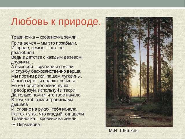 Любовь к природе. Травиночка – кровиночка земли. Признаемся – мы это позабыли...