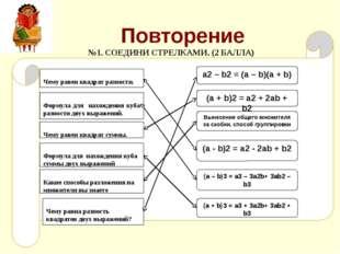 Повторение Чему равен квадрат суммы. Чему равен квадрат разности. Формула для