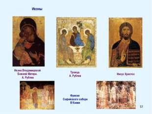 * Иконы Икона Владимирской Божией Матери. А. Рублев Троица. А. Рублев Иисус Х