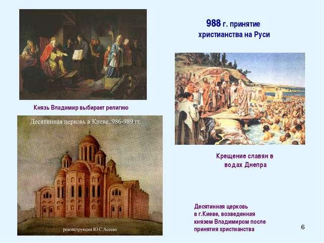 * 988 г. принятие христианства на Руси Десятинная церковь в г.Киеве, возведен...
