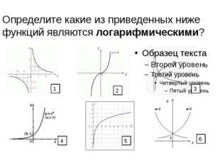 Определите какие из приведенных ниже функций являются логарифмическими? 1 4 6