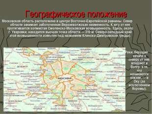 Географическое положение Московская область расположена в центре Восточно-Евр