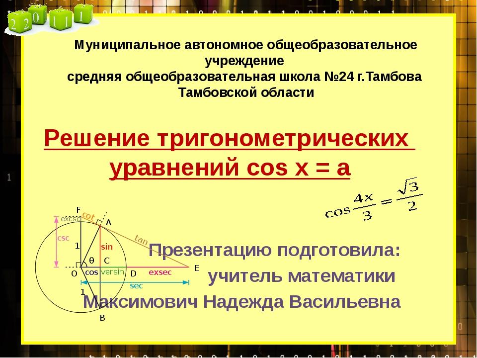 Решение тригонометрических уравнений cos x = a Презентацию подготовила: учите...