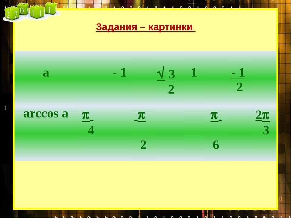 Задания – картинки а - 1 32 1 -12 arccosa 4 2 6 23