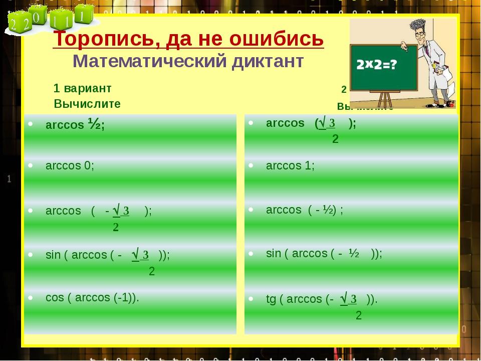 Торопись, да не ошибись Математический диктант 2 вариант Вычислите 1 вариант...