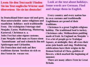 Look at the text about holidays. Some words are German. Find and change them
