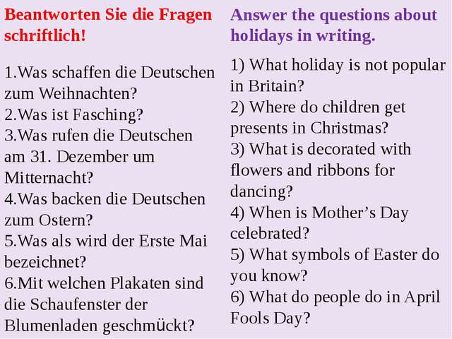 Answer the questions about holidays in writing. 1) What holiday is not popula...