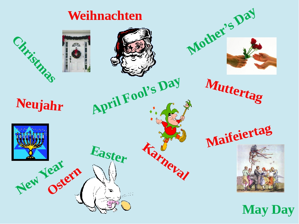 Christmas Easter New Year May Day Mother's Day April Fool's Day Muttertag Mai...
