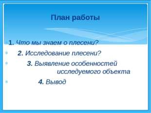 1. Что мы знаем о плесени? 2. Исследование плесени? 3. Выявление особенностей