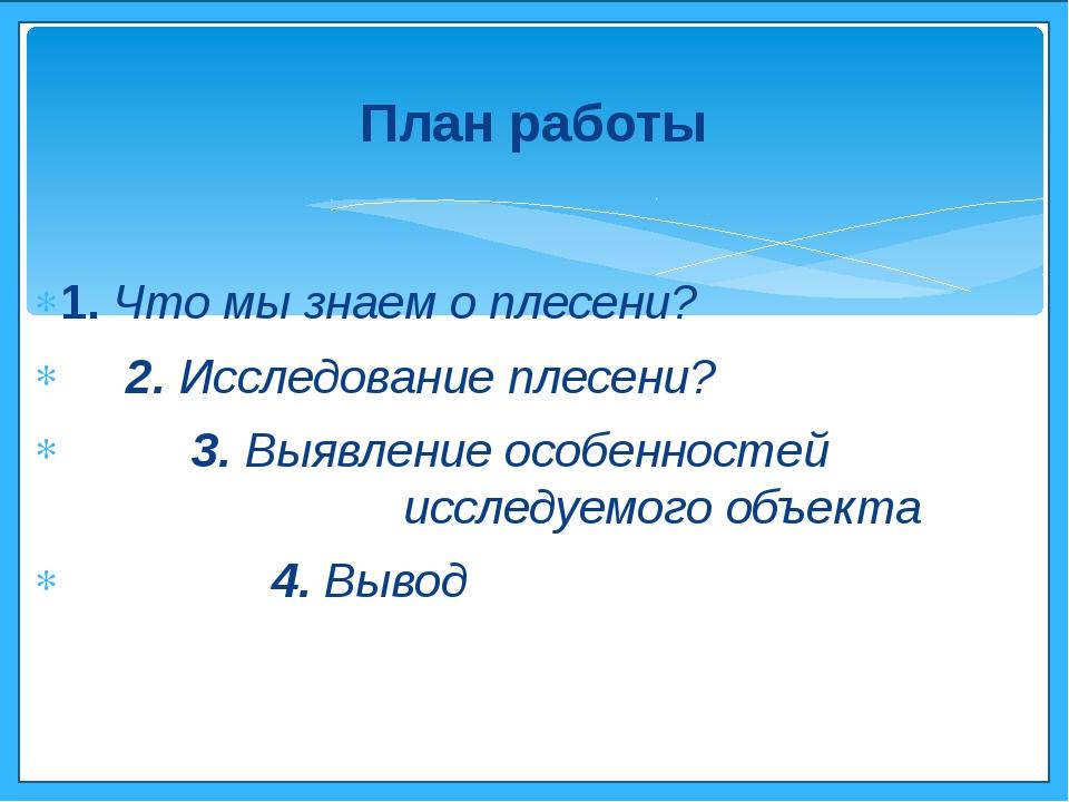 1. Что мы знаем о плесени? 2. Исследование плесени? 3. Выявление особенностей...