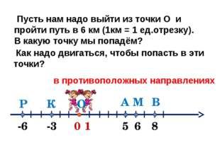 0 1 А -3 -6 6 В М К Р 5 8 Пусть нам надо выйти из точки О и пройти путь в 6 к