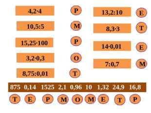 Р 4,2∙4 10,5:5 8,75:0,01 15,25∙100 3,2∙0,3 13,2:10 8,3∙3 14∙0,01 7:0,7 Р М Р
