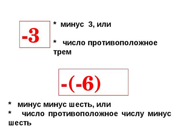 * минус 3, или * число противоположное трем -3 -(-6) * минус минус шесть, или...
